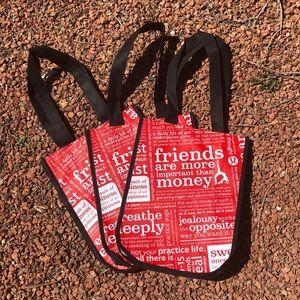 SET OF 3-Lululemon reusable snap tote bag.